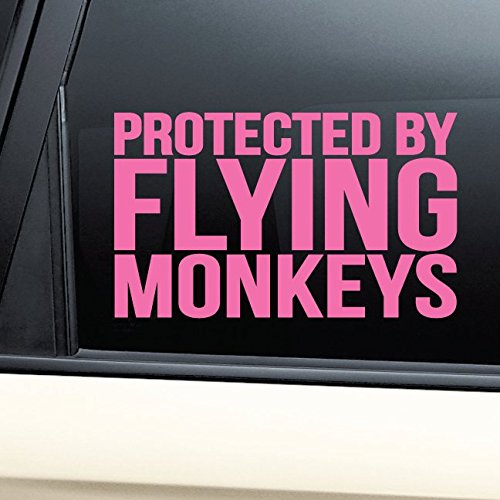 Protected By Flying Monkeys Vinyl Decal Laptop Car Truck Bumper Window Sticker - Pink