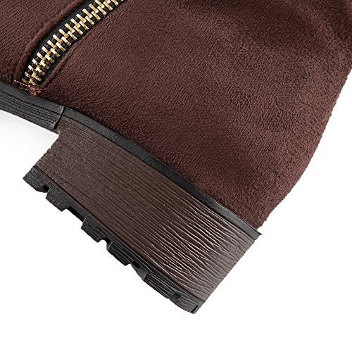 Brown Round Low Boots AgooLar Women's Closed Solid Heels Zipper Frosted Toe qv1SFH