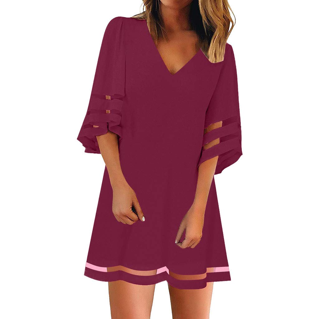 Women's V Neck Mesh Panel Blouse 3/4 Bell Sleeve Loose Top Shirt Dress Wine by HJuyYuah