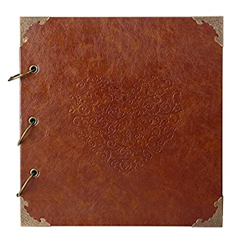 Superior Heart-Shaped Photo Album- An Ultimate PU Leather Cover Antique Scrapbook For Your Wedding, Birthday and Anniversary Photo Memories. A Perfect Choice And A DIY Gift For Your Loved Ones