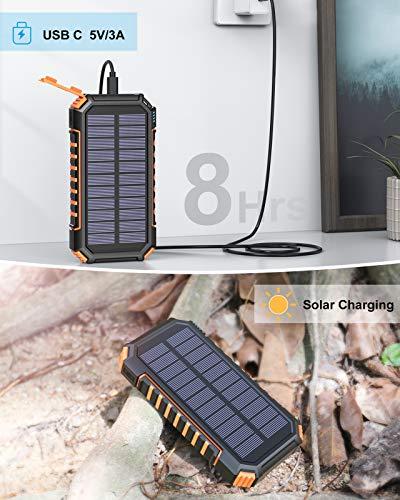 Riapow Solar Powerbank 26800mAh, Schnellladung Solar Ladegerät mit LED Licht und 3 Ausgänge, Tragbares Handy Ladegerät Solar Akkupack für iPhone Samsung Camping und Outdoor