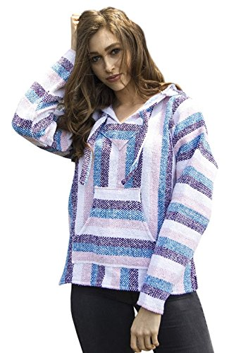Mexican Baja Hoodie Sweater Sweatshirt Pullover Jerga (Large, Pink/Purple/Blue)