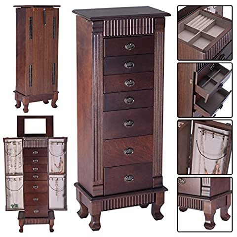 Jewelry Cabinet Armoire Box Storage Chest Stand Organizer Necklace Wood - Door Recessed Honey Oak Cabinets
