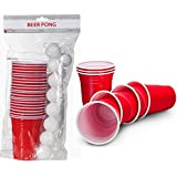 BEER PING PONG ADULT DRINKING GAME 22 RED PLASTIC CUPS 15 BALLS PARTY FUN NEW