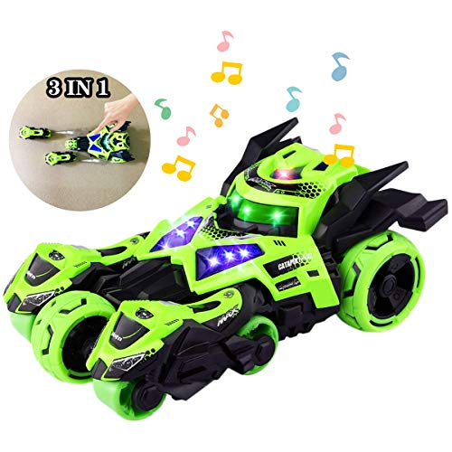 YITOOK Pull Back Vehicles,【Upgraded Version】 3 in 1 Air Pull Back Car Toys Friction Powered Vehicles Include 2 Motocycles with Fun Lights & Sounds for Children Kids Boys Girls (Green)