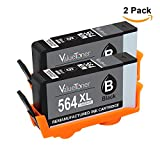 ValueToner Remanufactured Ink Cartridge Replacement for New Generation HP 564XL Black Ink Cartridge, Set of 2 (CN684WN)