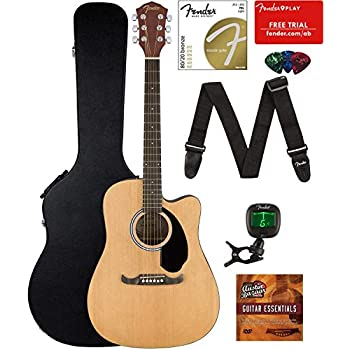 fender fa 125ce dreadnought cutaway acoustic electric guitar bundle with hard case. Black Bedroom Furniture Sets. Home Design Ideas