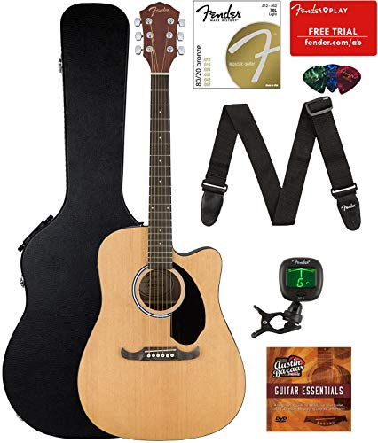 Acoustic Guitar Electric (Fender FA-125CE Dreadnought Cutaway Acoustic-Electric Guitar Bundle with Hard Case, Strap, Strings, Tuner, Picks, Fender Play Online Lessons, and Austin Bazaar Instructional DVD)