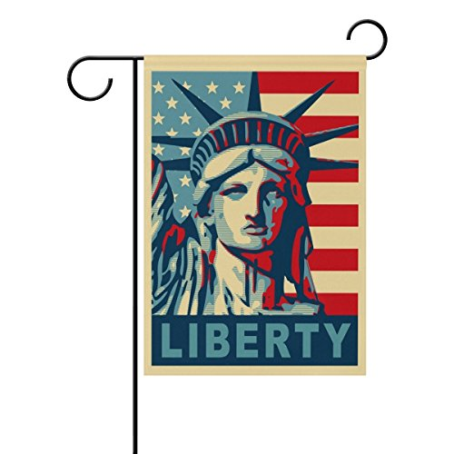 fieldtree Happy Presidents Day Statue Of Liberty Poster Style Garden Flag Home Polyester Fabric Mildew Resistant Welcome House Yard Banner,12x18 Inch
