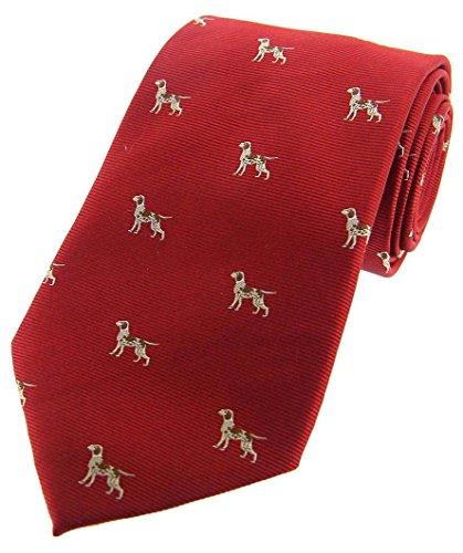 David Van Hagen Mens Pointer Dogs Woven Country Silk Tie - Red ()