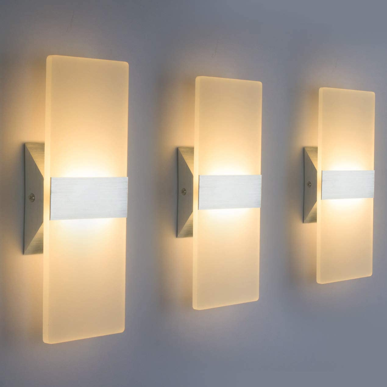 Modern LED Wall Sconce Lighting Fixture Lamps 5W Warm White 5K Up and  Down Indoor Acrylic Wall Lights Not Dimmable for Living Room Bedroom  Hallway