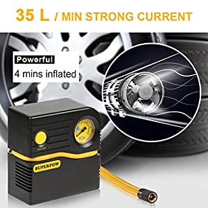 Leelbox 2018 Portable Tire Inflator, Superpow Auto Air Compressor Pump 120PSI 12V DC 4 Mins Filled Quickly with Gas for Tire Apply for for Cars SUV Mattress Bicycles Basketballs and Other Inflatables