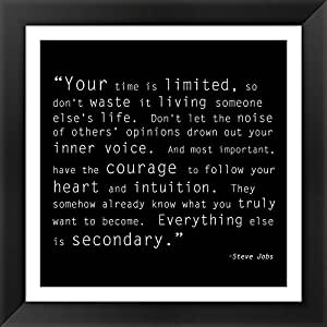Time Quote Framed Art Print Wall Picture, Black Frame with Hanging Cleat, 16 x 16 inches