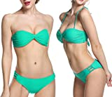 Ekouaer Women's Cute Push up Padded Bandeau Twist Bikini Set Bathing Suits (Green) US 8/10=Tag Size 10