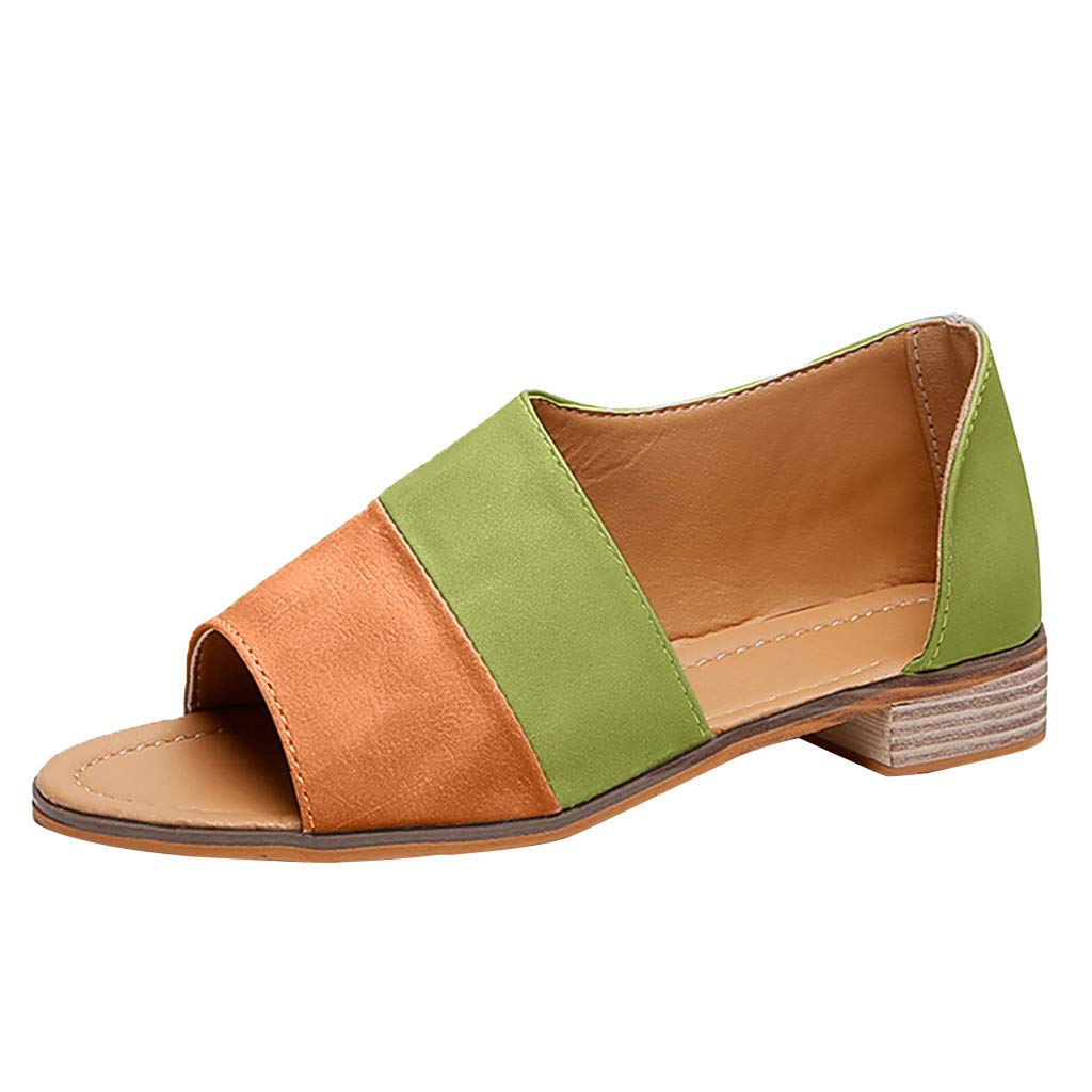 ℊeneral store Women's Roman Peep Toe Mixed Colors Low Square Heel Large Size Sandals Shoes