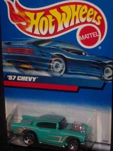 (#2000-105 1957 Chevy Flame tampo Unpainted base With 57 Chevy on base Collectible Collector Car Mattel Hot Wheels 1:64 Scale)