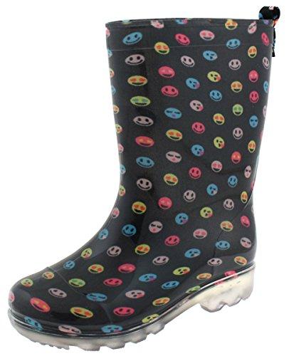 Capelli New York Girls Emoticons Printed Jelly Rain Boots Black Combo 10/11 ()