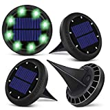 Bakiya 8 Led Disk Waterproof Solar Pathway Lights Automatic (4, Green)