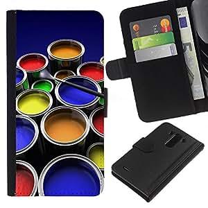 KLONGSHOP // Tirón de la caja Cartera de cuero con ranuras para tarjetas - Kit de Pintura Arte gráfico del color Ollas Diseño - LG G3 //