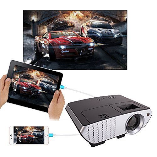 Projector free hdmi cable xinda 2000 lumens wired mirror for Mirror mini projector