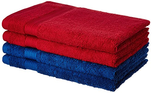 Solimo 100% Cotton 4 Piece Hand Towel Set, 500 GSM (Iris Blue and Spanish Red)