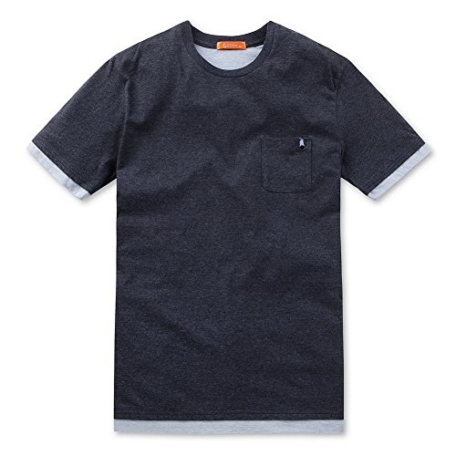 GGIO2 Men's Front Navy Back Grey Layered Style Pocket Short Sleeve (Irobot Roomba Review)