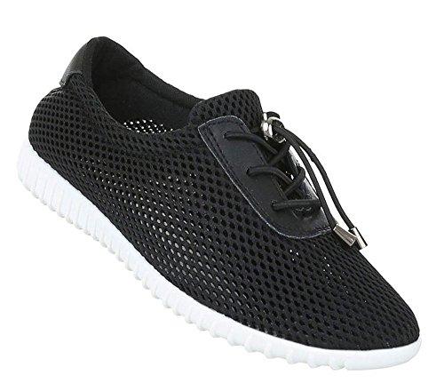 Damen Sportschuhe | Hallenschuhe weiße Sohle | Federleichte Laufschuhe | Schnellverschluss Schuhe | Sneaker Runners | Trainers Profilsohle | Schuhcity24 Modell Nr1 Schwarz