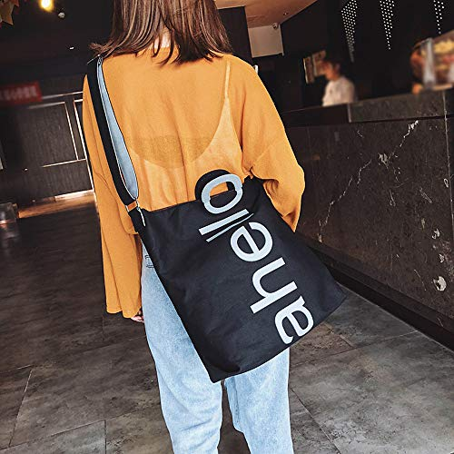 Travel Square Bag Black Messenger Women Bag Letter Printed Bag Canvas Fashion ZOMUSAR Handbag Shoulder vPq6AP