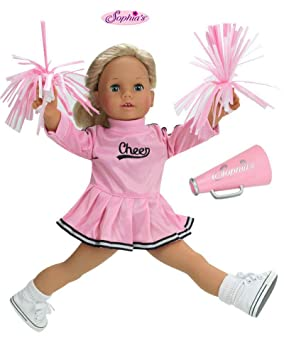 c439f11df0c 18 Inch Doll Clothes Fits American Girl Dolls - Doll Cheerleader Outfit Set  Includes Pom Poms Doll Accessories & Pink Cheerleader Doll Dress