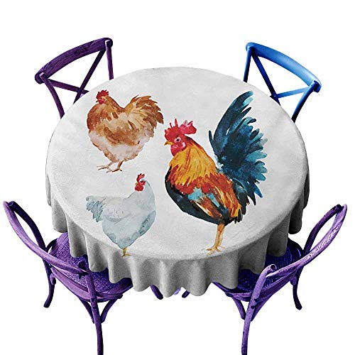 Zodel Indoor/Outdoor Round Tablecloth,Chicken Watercolor Effect Poultry Design with Rooster and Hens Flightless Bird Illustration,for Events Party Restaurant Dining Table Cover,40 INCH,Multicolor