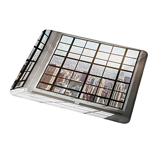 Gaming Mouse Pad Custom Modern,Urban City View of Apartments from Square Shape Windows Photograph,White Black and Pale Brown,Custom Non-Slip Mouse Mat 9.8