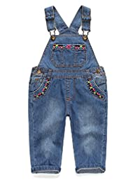 Kidscool Baby & Little Girls Flower Decor Big Bib Jeans Overalls