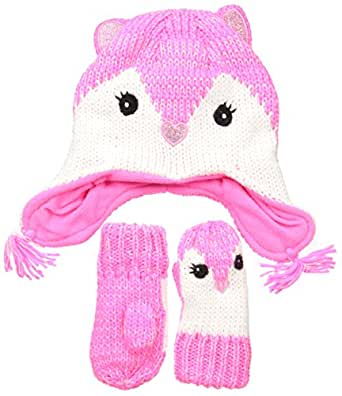 The Children's Place Baby Animal Hat Scarf and Mitten Set, Fox/Neon Berry, Large/4T/5T