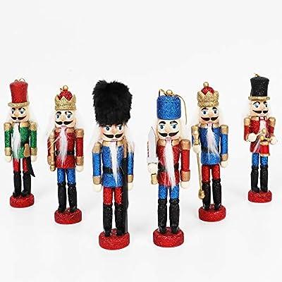 OurWarm 6Pcs Sparkle Christmas Nutcrackers Ornaments, Nutcrackers Figures for Christmas Tree Ornaments Birthday Gift Home Party Xmas Decorations