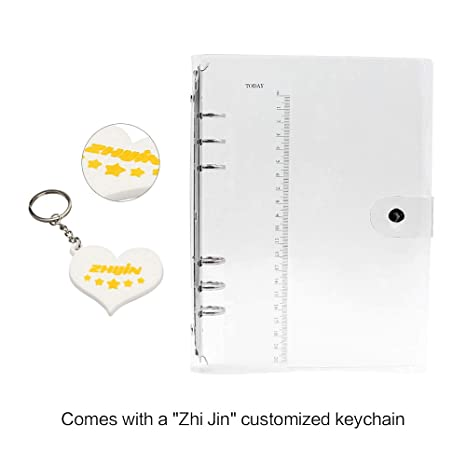Zhi Jin A5 Standard 6 Holes Clear Soft PVC Notebook Cover Protector Round Ring Binder Loose leaf Folder A5-23.518cm