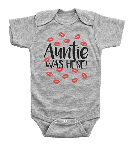 Here Onesie (AUNTIE WAS HERE / Funny Red Kisses Onesie from Aunt / Baby Shower / Baffle Baby (9mo, Grey Short Sleeve))