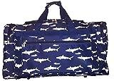 21 inch Fashion Print Gym Dance Cheer Travel Duffle Bag (Navy Sharks)
