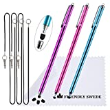 The Friendly Swede Extra Long - Bundle of 3 Premium XXL Thin-Tip High Precision Universal Capacitive Stylus Pens 7.3'' + Extra 3 Replaceable Tips + 2 x 15'' Elastic Tether Lanyards + Cleaning Cloth in Retail Packaging (Hot Pink + Purple + Aqua Blue)