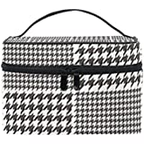 SAVSV Black And White Houndstooth Pattern Cosmetic Bag Toiletry Bags Travel Makeup Large Organizer Portable Multifunction Case for Women Girls