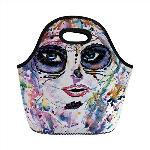 Portable Neoprene Lunch Bag, Sugar Skull Decor, Halloween Girl with Sugar Skull Makeup Watercolor Painting Style Creepy Decorative, Multicolor, for Kids Adult Thermal Insulated Tote Bags -