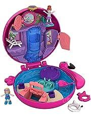 Polly Pocket FRY38 - Pocket World Flamingo Floatie-lekväska med vattentema, överraskningar, mikrodockorna Polly och Lila och tillbehör, för 4 år och uppåt