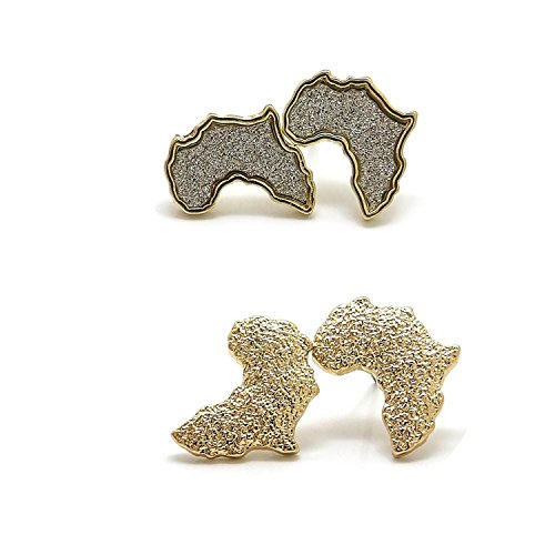 Unisex Rough Textured, Glittered Africa Continent Pierced Stud Earring (Africa Continent - 2 Pair Set) by Fashion 21
