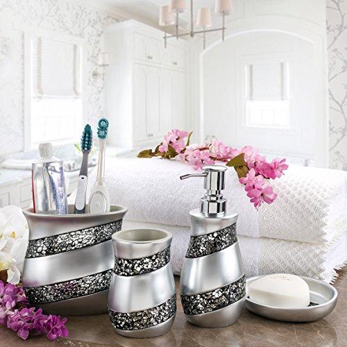 Creative scents bathroom accessories set 4 piece silver - Luxury bathroom accessories sets ...