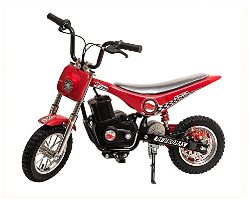 Burromax Red TT250 Electric Motorcycle Dirt Bike for Kids | Fast and Long Lasting 24V 250W Charge | Ride On Mini Pocket Bike Off Road