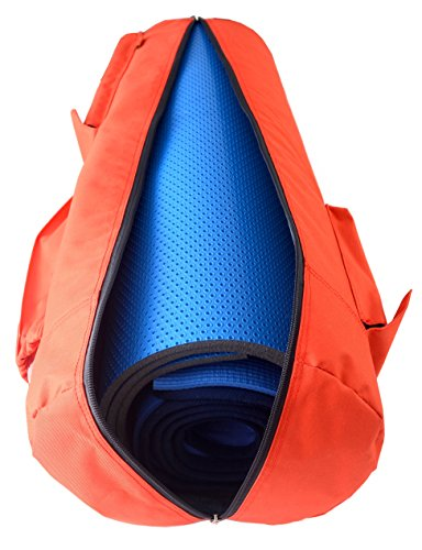 Yoga Mat Bag by NewK Yoga – Full Zip, Waterproof, Sling Bag with Expandable Pockets – Fits All Size Yoga Mats – Drawstring Bag and Sweat Wristband Included