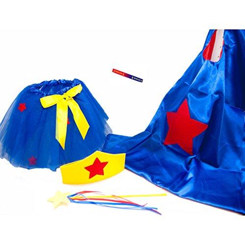 Super Girl Fairy Princess Tutu, Crown, Wand and Cape Set (Kids Supergirl Tutu Costume)
