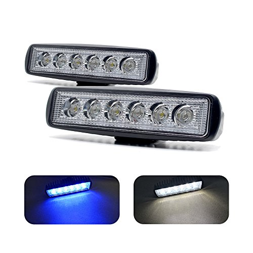Jiawill Dual Color Marine LED Spreader Flood Deck Light for Boat White Housing (Pack of 2) DC 9~32V with 316L Stainless Steel Bracket (Black Housing, White & Blue Beam)
