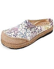 fereshte Women's Espadrilles Slipper Linen Mule Shoes