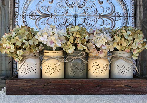 - Mason Canning JARS in Wood ANTIQUE RED Tray Centerpiece with 5 Ball Pint Jar -Kitchen Table Decor -Distressed -Flowers (Optional)- SAND X2, EGGNOG X2, PEWTER X1 Painted Jars (Pictured)