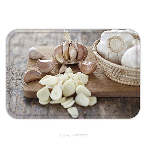 Garlic Bulb Costume (Flannel Microfiber Non-slip Rubber Backing Soft Absorbent Doormat Mat Rug Carpet Sliced Garlic Garlic Clove Garlic Bulb In Wicker Basket Place On Chopping Block On Vintage 282081980 for Indoor/Outdoor)